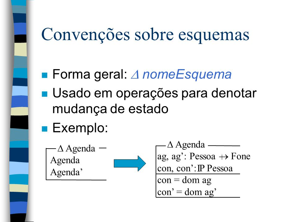 Convenções sobre esquemas n Forma geral:  nomeEsquema n Usado em operações para denotar que não há mudança de estado n Exemplo: I  Agenda ag, ag': Pessoa  Fone con, con': P Pessoa con = dom ag con' = dom ag' ag = ag' con = con'  Agenda  Agenda ag=ag' con=con'