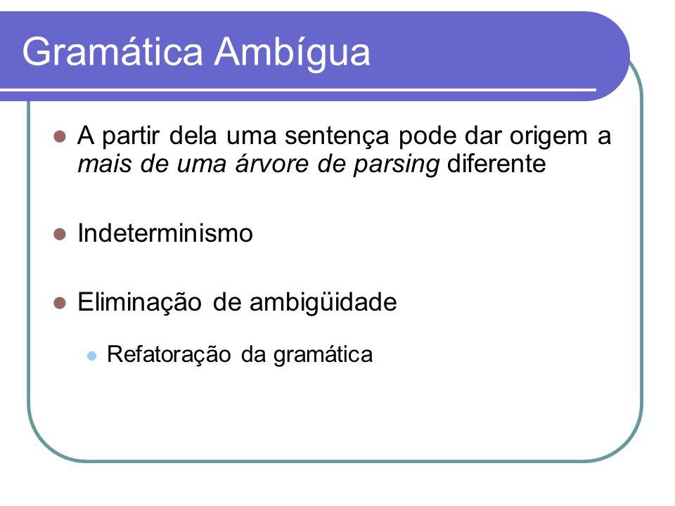 Gramática Ambígua A partir dela uma sentença pode dar origem a mais de uma árvore de parsing diferente Indeterminismo Eliminação de ambigüidade Refatoração da gramática