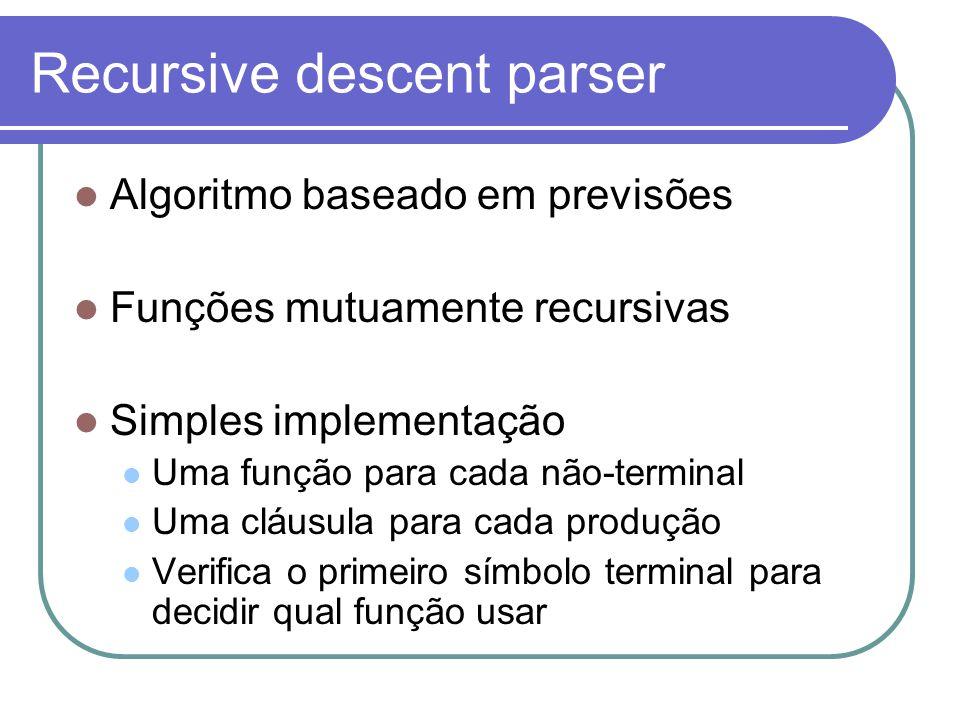 Recursive descent parser Algoritmo baseado em previsões Funções mutuamente recursivas Simples implementação Uma função para cada não-terminal Uma cláusula para cada produção Verifica o primeiro símbolo terminal para decidir qual função usar