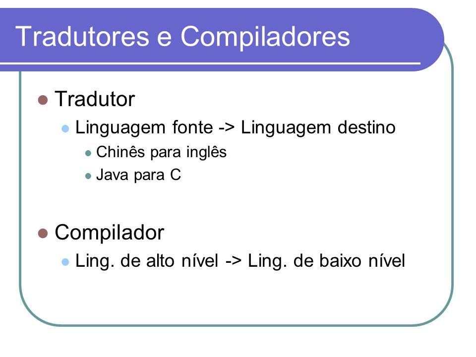 Tradutores e Compiladores Tradutor Linguagem fonte -> Linguagem destino Chinês para inglês Java para C Compilador Ling. de alto nível -> Ling. de baix