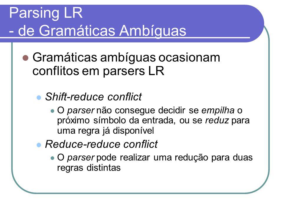 Parsing LR - de Gramáticas Ambíguas Gramáticas ambíguas ocasionam conflitos em parsers LR Shift-reduce conflict O parser não consegue decidir se empilha o próximo símbolo da entrada, ou se reduz para uma regra já disponível Reduce-reduce conflict O parser pode realizar uma redução para duas regras distintas