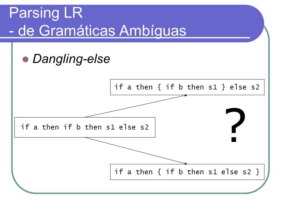 Parsing LR - de Gramáticas Ambíguas Dangling-else if a then if b then s1 else s2 if a then { if b then s1 else s2 } if a then { if b then s1 } else s2