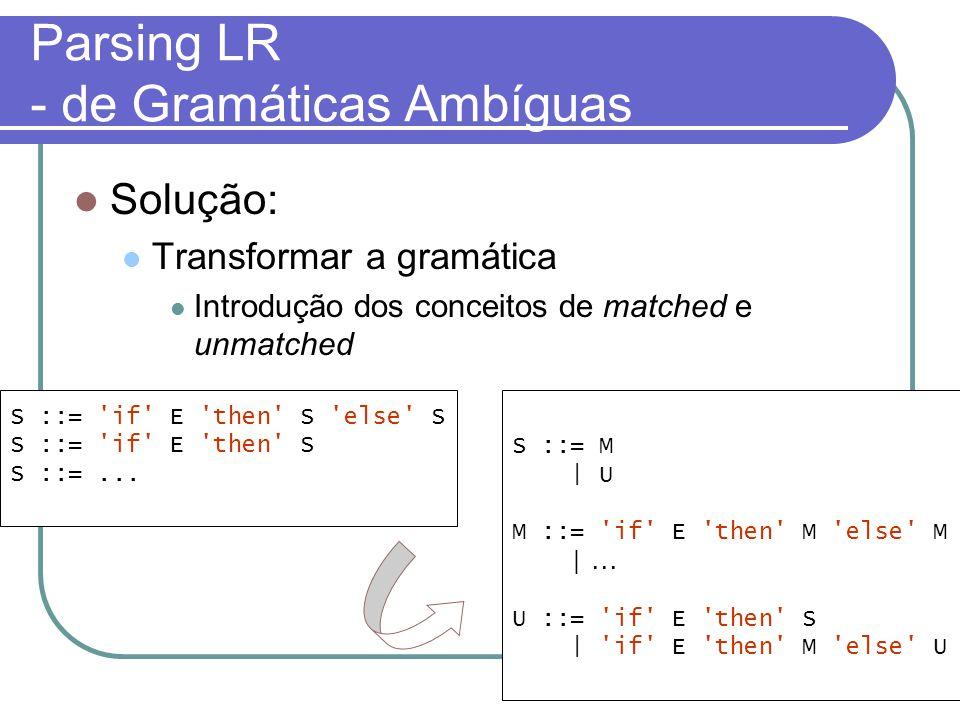Parsing LR - de Gramáticas Ambíguas Solução: Transformar a gramática Introdução dos conceitos de matched e unmatched S ::= if E then S else S S ::= if E then S S ::=...