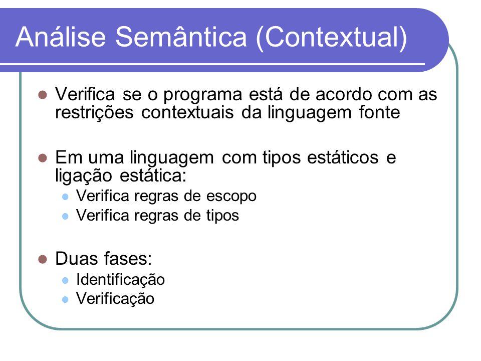 Análise Semântica (Contextual) Verifica se o programa está de acordo com as restrições contextuais da linguagem fonte Em uma linguagem com tipos estáticos e ligação estática: Verifica regras de escopo Verifica regras de tipos Duas fases: Identificação Verificação