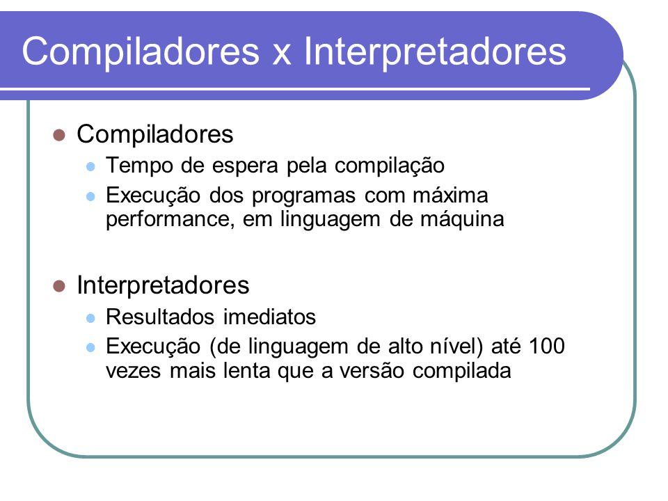 Compiladores x Interpretadores Compiladores Tempo de espera pela compilação Execução dos programas com máxima performance, em linguagem de máquina Int