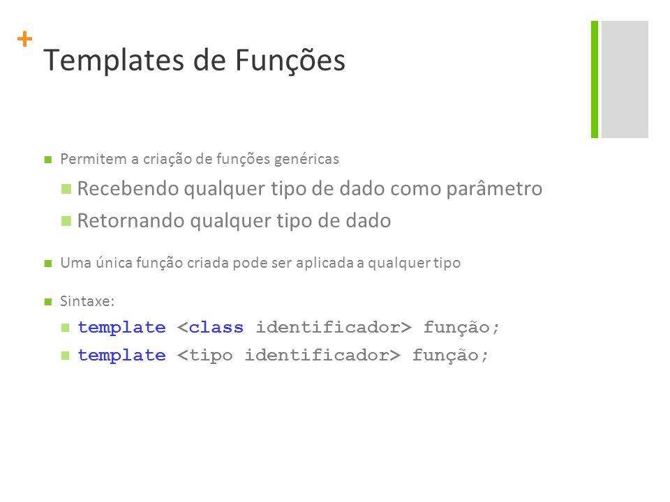 + Templates de Funções Permitem a criação de funções genéricas Recebendo qualquer tipo de dado como parâmetro Retornando qualquer tipo de dado Uma única função criada pode ser aplicada a qualquer tipo Sintaxe: template função;