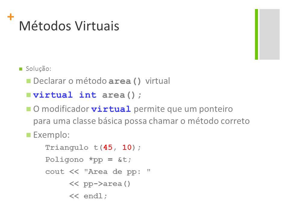 + Métodos Virtuais Solução: Declarar o método area() virtual virtual int area(); O modificador virtual permite que um ponteiro para uma classe básica possa chamar o método correto Exemplo: Triangulo t(45, 10); Poligono *pp = &t; cout << Area de pp: area() << endl;