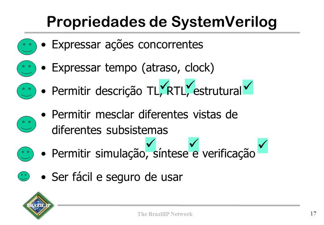BRAZIL IP The BrazilIP Network 17 Propriedades de SystemVerilog Expressar ações concorrentes Expressar tempo (atraso, clock) Permitir descrição TL, RTL, estrutural Permitir mesclar diferentes vistas de diferentes subsistemas Permitir simulação, síntese e verificação Ser fácil e seguro de usar
