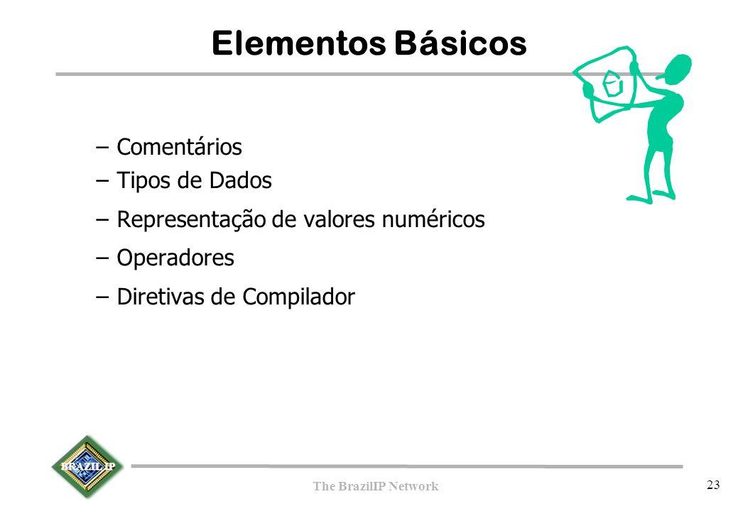 BRAZIL IP The BrazilIP Network 23 Elementos Básicos –Comentários –Tipos de Dados –Representação de valores numéricos –Operadores –Diretivas de Compila