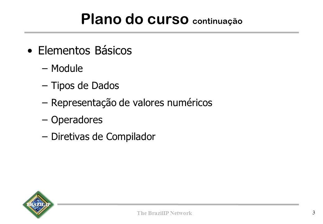 BRAZIL IP The BrazilIP Network 3 Plano do curso continuação Elementos Básicos –Module –Tipos de Dados –Representação de valores numéricos –Operadores –Diretivas de Compilador