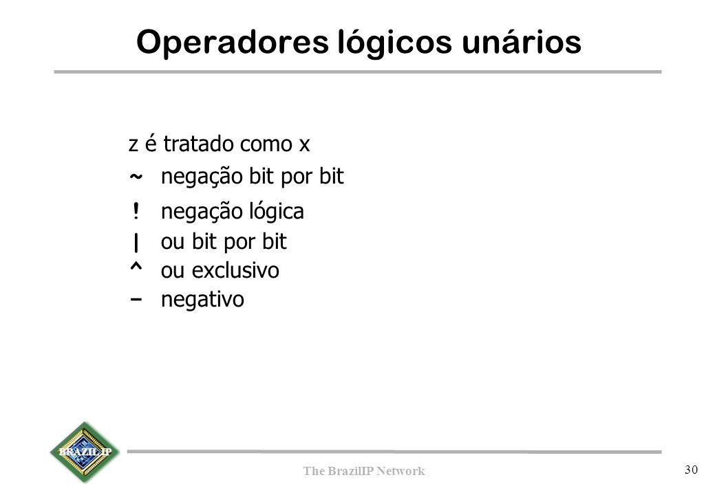 BRAZIL IP The BrazilIP Network 30 Operadores lógicos unários z é tratado como x ~ negação bit por bit ! negação lógica | ou bit por bit ^ ou exclusivo