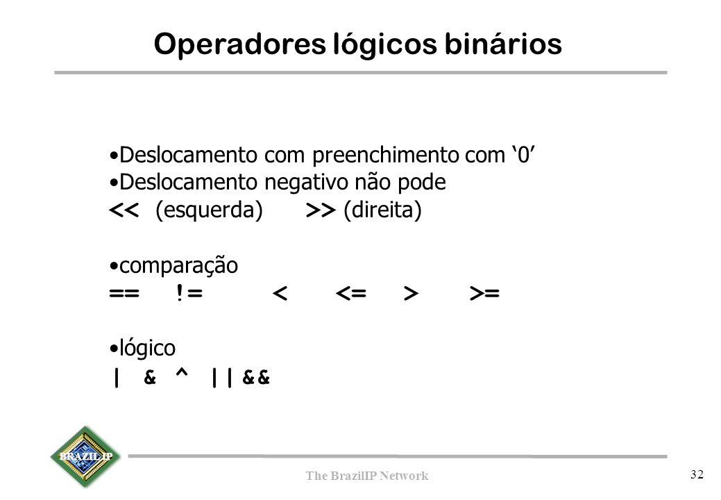 BRAZIL IP The BrazilIP Network 32 Operadores lógicos binários Deslocamento com preenchimento com '0' Deslocamento negativo não pode > (direita) comparação == != >= lógico |&^||&&