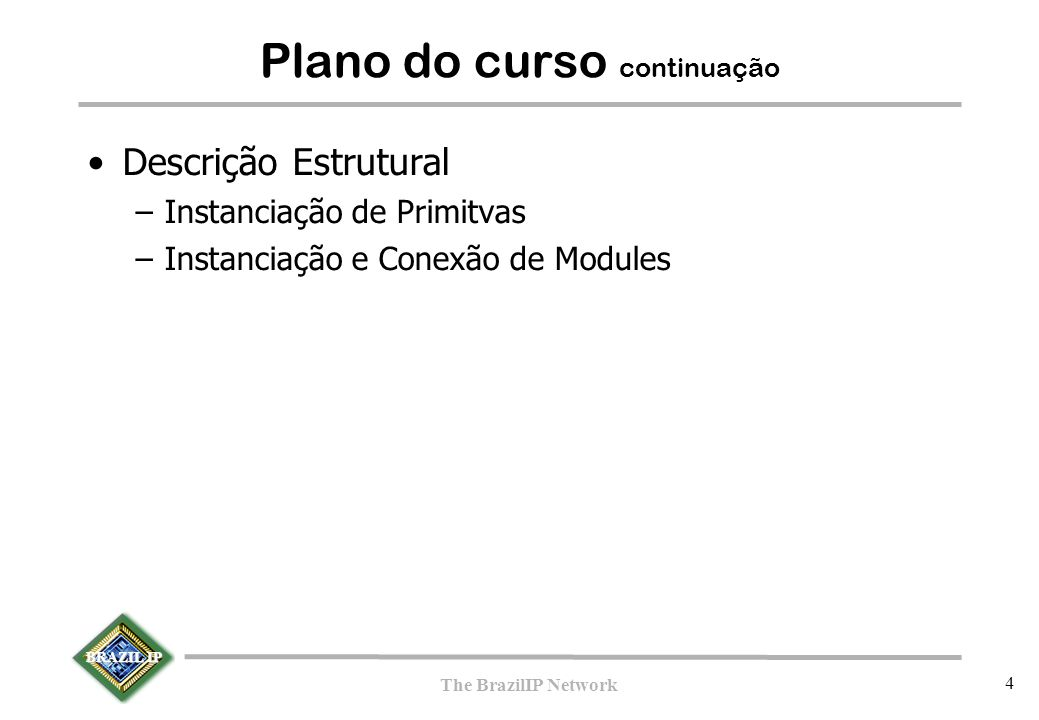 BRAZIL IP The BrazilIP Network 65 Descrição TLM –initial –Transação e FIFO Portas Acesso (get, put) Conexão –Assertions Seqüências –Cobertura –Subrotinas em C –Exemplos