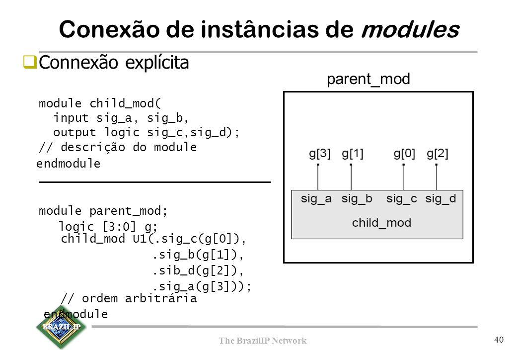 BRAZIL IP The BrazilIP Network 40  Connexão explícita module child_mod( input sig_a, sig_b, output logic sig_c,sig_d); // descrição do module endmodule module parent_mod; logic [3:0] g; child_mod U1(.sig_c(g[0]),.sig_b(g[1]),.sib_d(g[2]),.sig_a(g[3])); // ordem arbitrária endmodule parent_mod Conexão de instâncias de modules