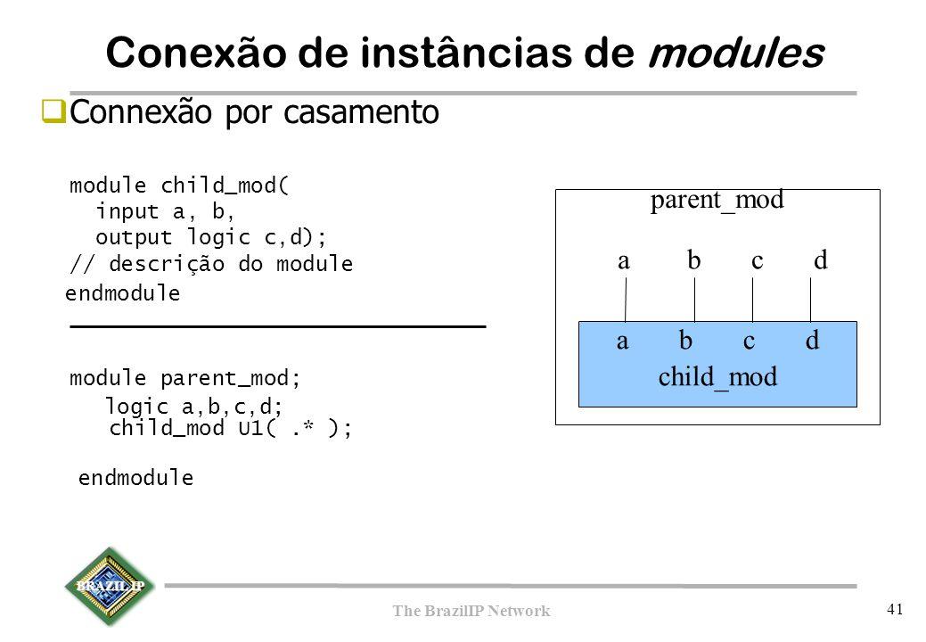 BRAZIL IP The BrazilIP Network 41  Connexão por casamento module child_mod( input a, b, output logic c,d); // descrição do module endmodule module parent_mod; logic a,b,c,d; child_mod U1(.* ); endmodule a b c d child_mod a b c d parent_mod Conexão de instâncias de modules