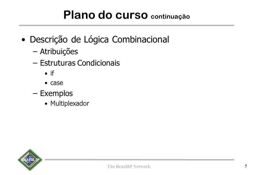 BRAZIL IP The BrazilIP Network 66 Construções Procedurais  Existem dois:  initial : Executa uma única vez no início da simulação, NÃO sintetizável  always_comb : Executa repetidamente, sintetizável  Exemplo: … initial begin Sum <= 0; Carry <= 0; end … always_comb begin Sum <= A ^ B; Carry <= A & B; end …