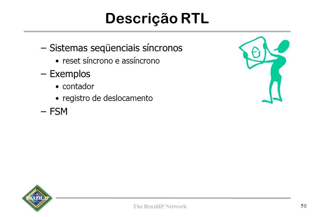 BRAZIL IP The BrazilIP Network 50 Descrição RTL –Sistemas seqüenciais síncronos reset síncrono e assíncrono –Exemplos contador registro de deslocamento –FSM
