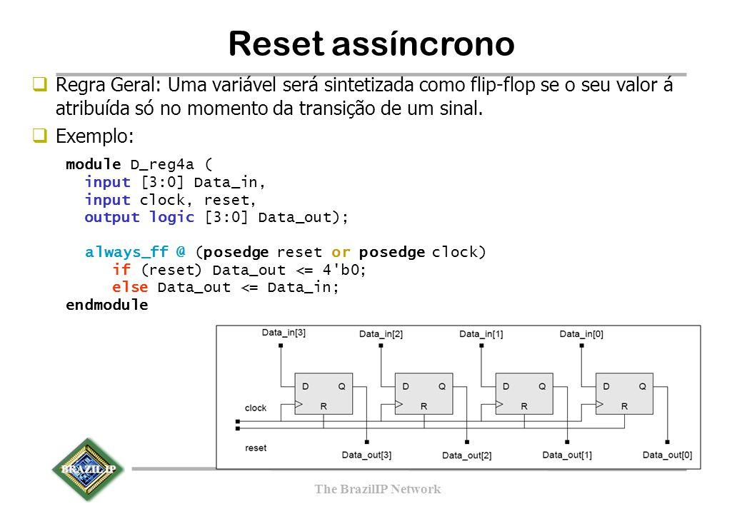BRAZIL IP The BrazilIP Network  Regra Geral: Uma variável será sintetizada como flip-flop se o seu valor á atribuída só no momento da transição de um sinal.