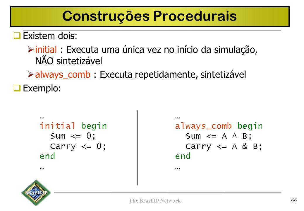 BRAZIL IP The BrazilIP Network 66 Construções Procedurais  Existem dois:  initial : Executa uma única vez no início da simulação, NÃO sintetizável 