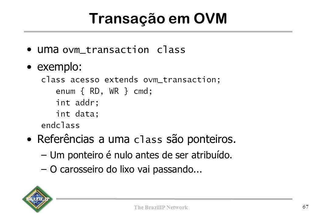 BRAZIL IP The BrazilIP Network 67 Transação em OVM uma ovm_transaction class exemplo: class acesso extends ovm_transaction; enum { RD, WR } cmd; int a