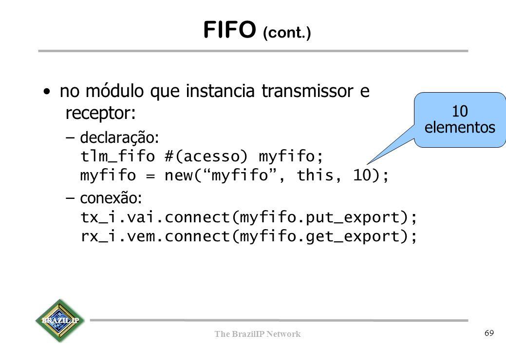 BRAZIL IP The BrazilIP Network 69 FIFO (cont.)  no módulo que instancia transmissor e receptor: –declaração: tlm_fifo #(acesso) myfifo; myfifo = new(