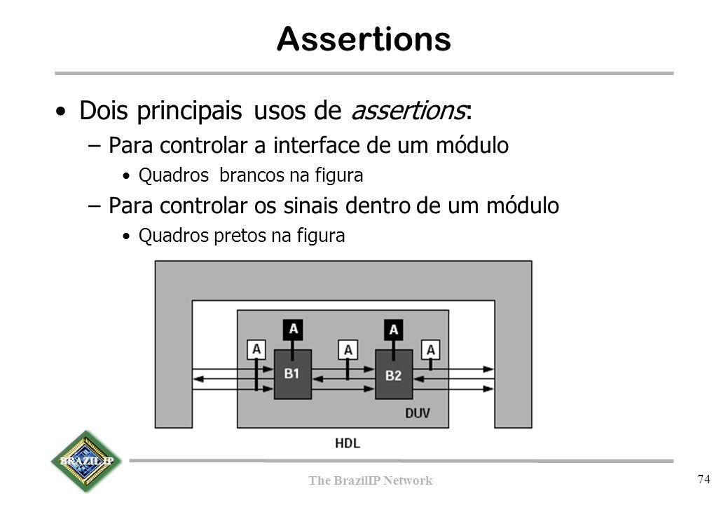 BRAZIL IP The BrazilIP Network 74 Assertions Dois principais usos de assertions: –Para controlar a interface de um módulo Quadros brancos na figura –P
