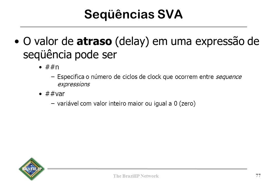BRAZIL IP The BrazilIP Network 77 Seqüências SVA O valor de atraso (delay) em uma expressão de seqüência pode ser ##n –Especifica o número de ciclos d