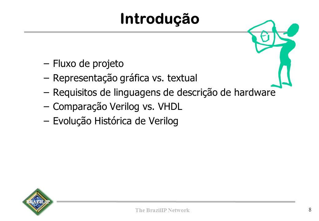 BRAZIL IP The BrazilIP Network 8 Introdução –Fluxo de projeto –Representação gráfica vs. textual –Requisitos de linguagens de descrição de hardware –C