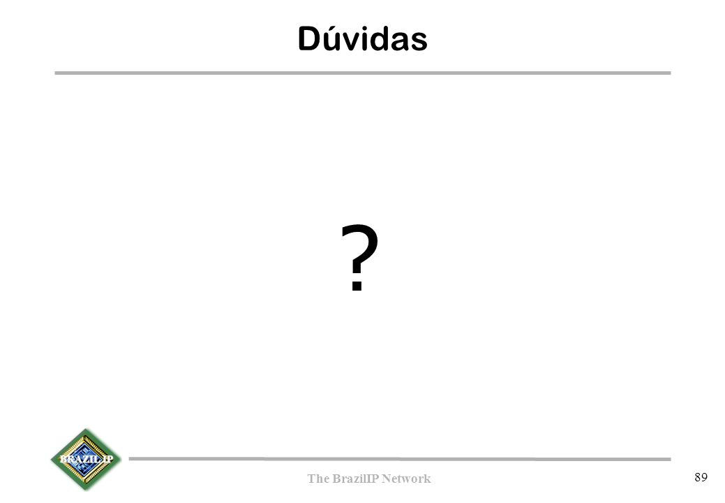 BRAZIL IP The BrazilIP Network 89 Dúvidas