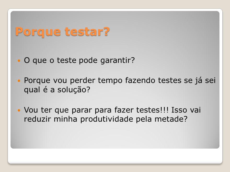 Porque testar.O que o teste pode garantir.