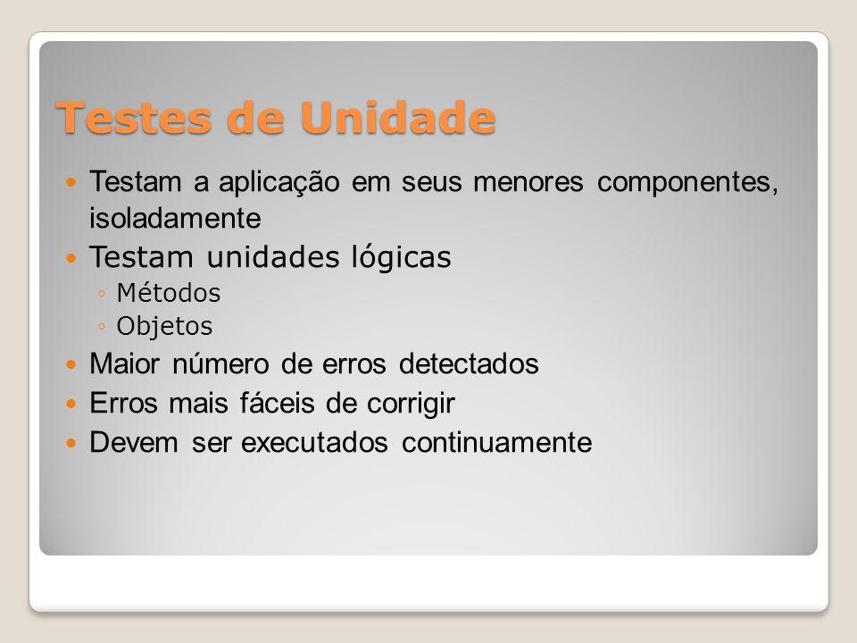 Testes de Unidade Testam a aplicação em seus menores componentes, isoladamente Testam unidades lógicas ◦Métodos ◦Objetos Maior número de erros detectados Erros mais fáceis de corrigir Devem ser executados continuamente