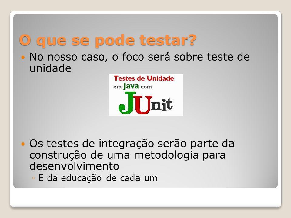 Junit O JUnit é um framework open-source, criado por Eric Gamma e Kent Beck, com suporte à criação de testes automatizados na linguagem de programação Java.