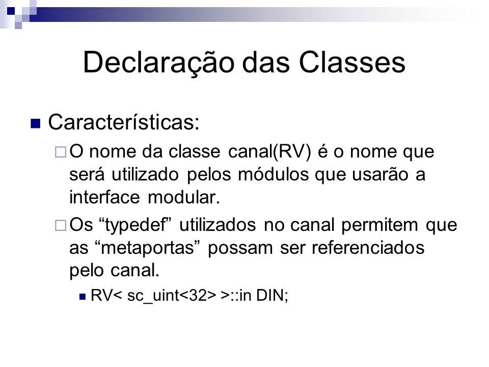 Declaração das Classes Características:  O nome da classe canal(RV) é o nome que será utilizado pelos módulos que usarão a interface modular.