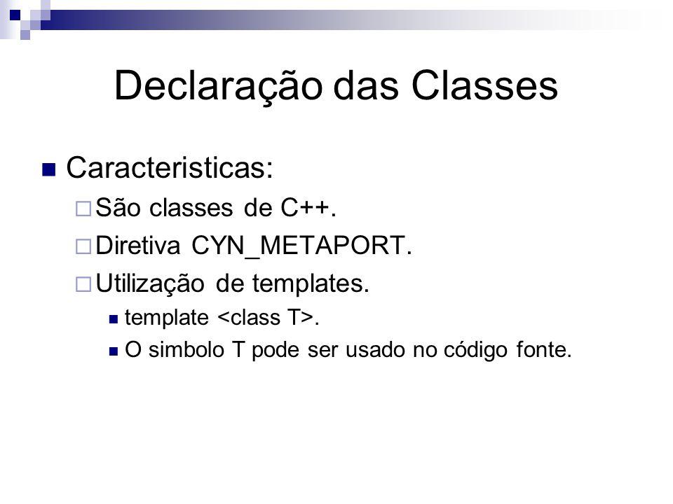 Declaração das Classes Caracteristicas:  São classes de C++.