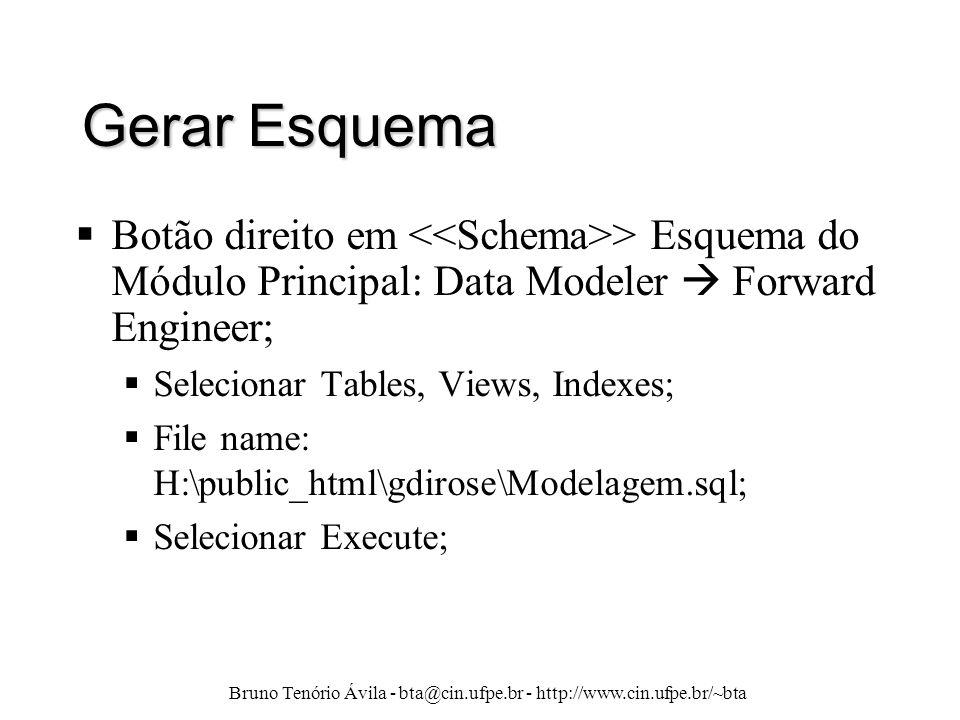 Bruno Tenório Ávila - bta@cin.ufpe.br - http://www.cin.ufpe.br/~bta Gerar Esquema  Botão direito em > Esquema do Módulo Principal: Data Modeler  For