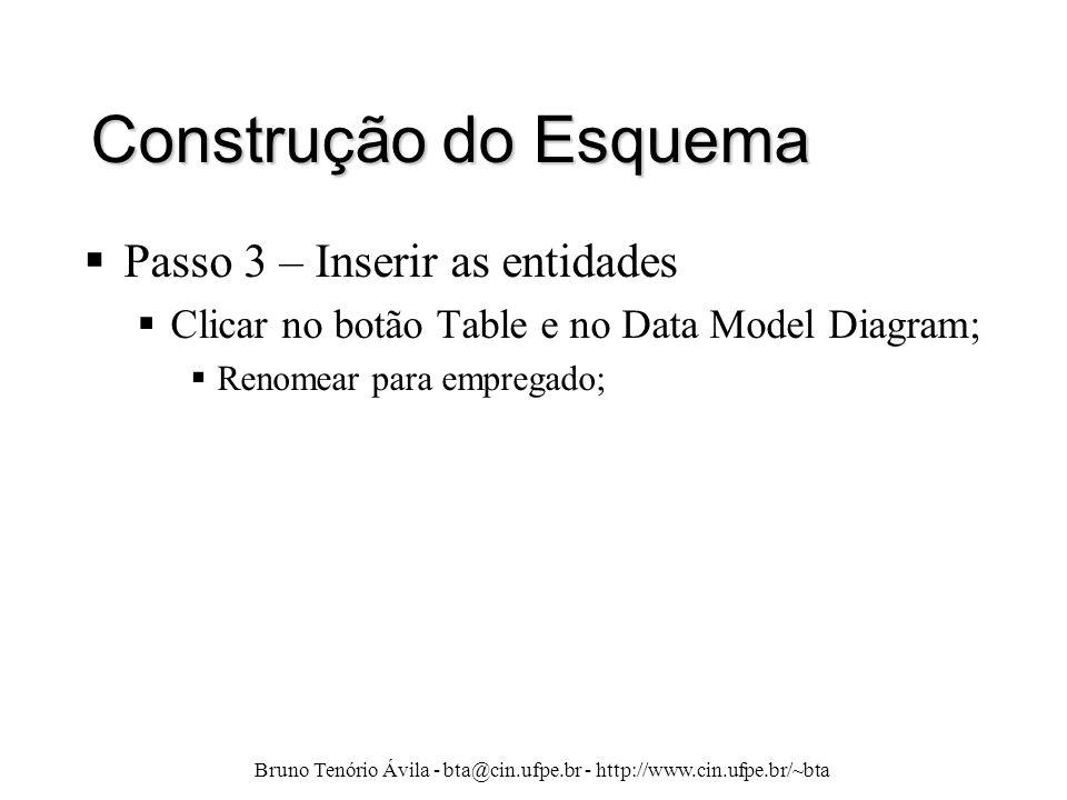 Bruno Tenório Ávila - bta@cin.ufpe.br - http://www.cin.ufpe.br/~bta Construção do Esquema  Passo 3 – Inserir as entidades  Clicar no botão Table e n