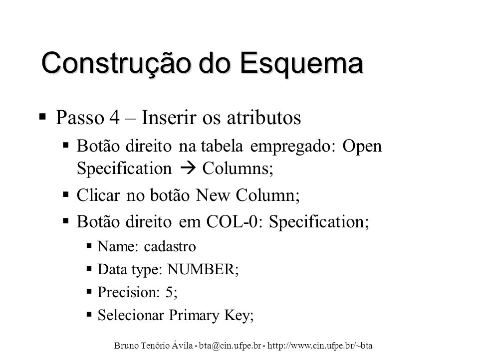 Bruno Tenório Ávila - bta@cin.ufpe.br - http://www.cin.ufpe.br/~bta Construção do Esquema  Passo 4 – Inserir os atributos  Botão direito na tabela e