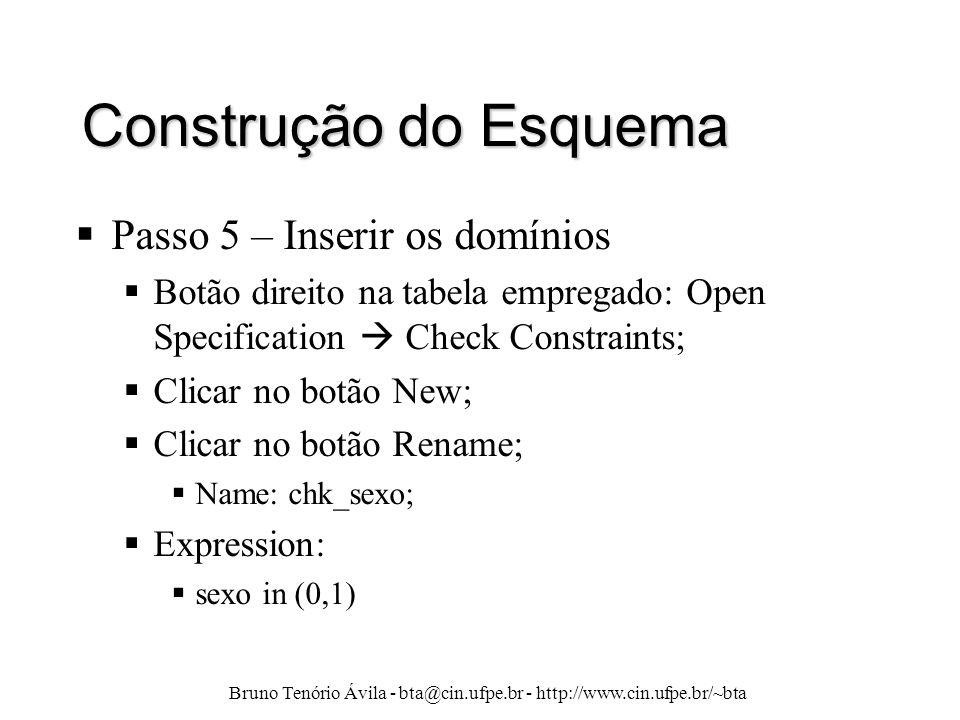 Bruno Tenório Ávila - bta@cin.ufpe.br - http://www.cin.ufpe.br/~bta Construção do Esquema  Passo 5 – Inserir os domínios  Botão direito na tabela em