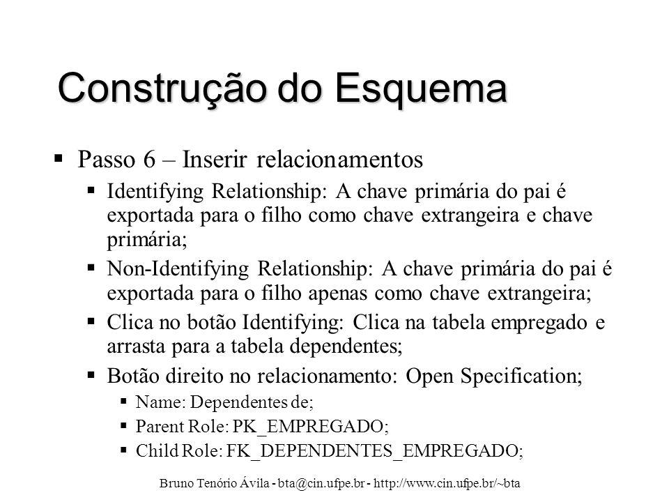 Bruno Tenório Ávila - bta@cin.ufpe.br - http://www.cin.ufpe.br/~bta Construção do Esquema  Passo 6 – Inserir relacionamentos  Identifying Relationsh