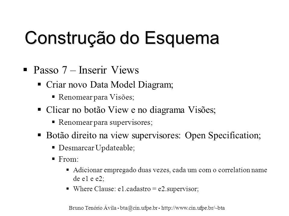 Bruno Tenório Ávila - bta@cin.ufpe.br - http://www.cin.ufpe.br/~bta Construção do Esquema  Passo 7 – Inserir Views  Criar novo Data Model Diagram; 