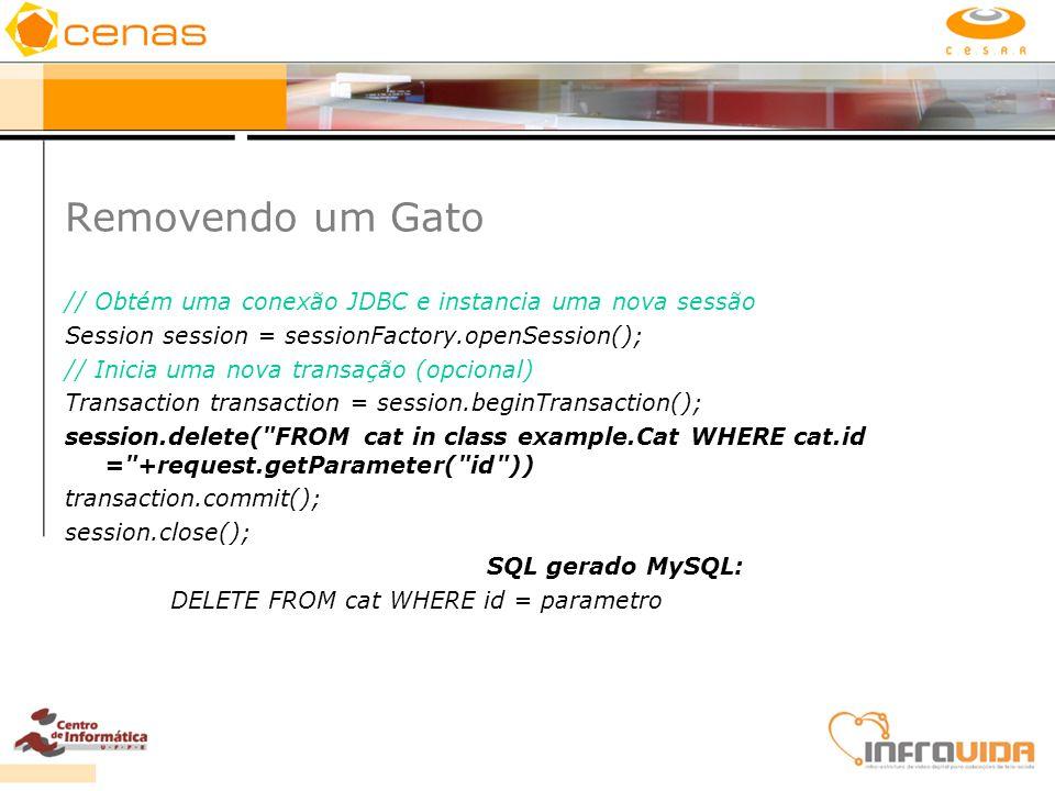 Removendo um Gato // Obtém uma conexão JDBC e instancia uma nova sessão Session session = sessionFactory.openSession(); // Inicia uma nova transação (