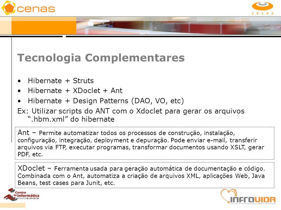 Tecnologia Complementares Hibernate + Struts Hibernate + XDoclet + Ant Hibernate + Design Patterns (DAO, VO, etc) Ex: Utilizar scripts do ANT com o Xd