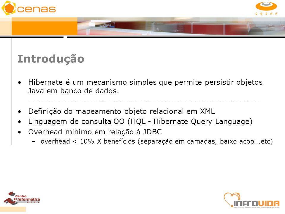 Introdução Hibernate é um mecanismo simples que permite persistir objetos Java em banco de dados. ----------------------------------------------------