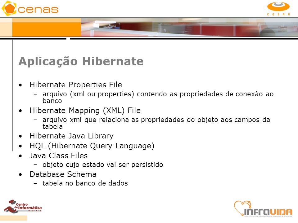 Aplicação Hibernate Hibernate Properties File –arquivo (xml ou properties) contendo as propriedades de conexão ao banco Hibernate Mapping (XML) File –
