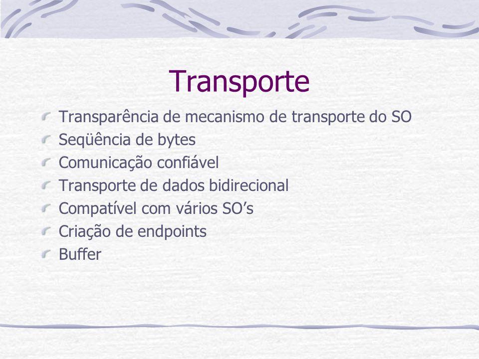 Transporte Transparência de mecanismo de transporte do SO Seqüência de bytes Comunicação confiável Transporte de dados bidirecional Compatível com vár