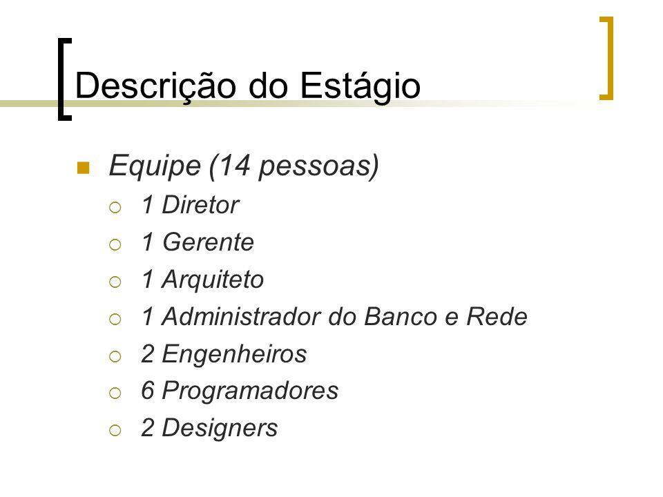 Descrição do Estágio Equipe (14 pessoas)  1 Diretor  1 Gerente  1 Arquiteto  1 Administrador do Banco e Rede  2 Engenheiros  6 Programadores  2