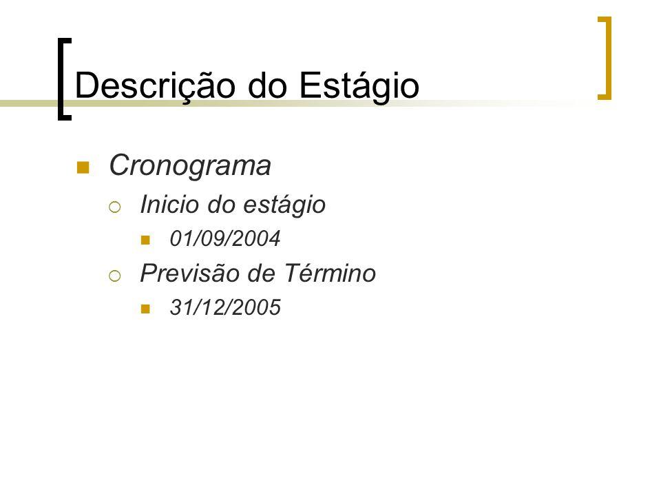 Descrição do Estágio Cronograma  Inicio do estágio 01/09/2004  Previsão de Término 31/12/2005