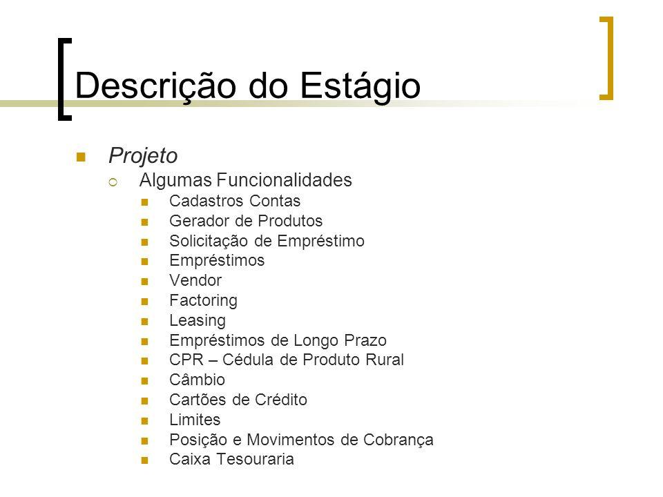 Descrição do Estágio Projeto  Algumas Funcionalidades Cadastros Contas Gerador de Produtos Solicitação de Empréstimo Empréstimos Vendor Factoring Lea