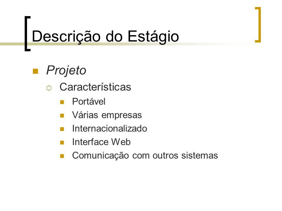 Descrição do Estágio Projeto  Características Portável Várias empresas Internacionalizado Interface Web Comunicação com outros sistemas
