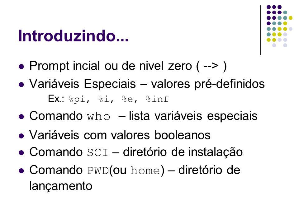 Introduzindo... Prompt incial ou de nivel zero ( --> ) Variáveis Especiais – valores pré-definidos Ex.: %pi, %i, %e, %inf Comando who – lista variávei